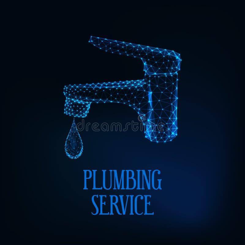 Sondando o molde do logotipo do serviço com o baixo torneira poligonal de incandescência futurista com água do gotejamento ilustração stock