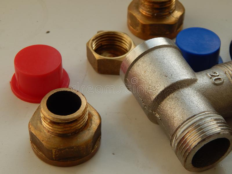 Sondando torneiras e adaptadores fotografia de stock