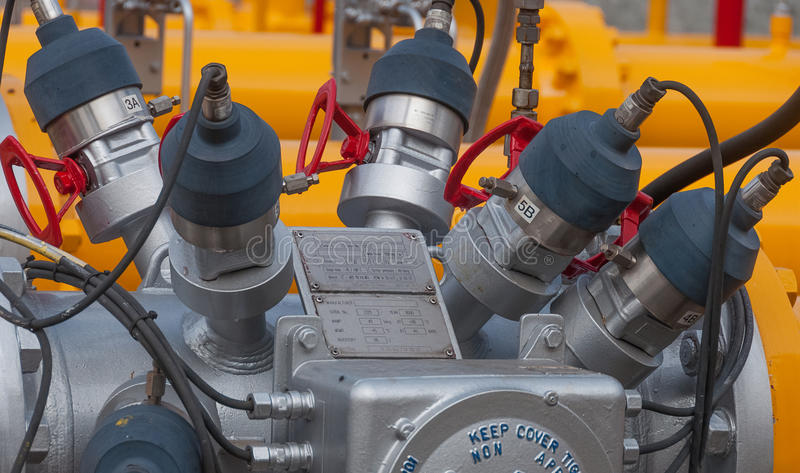 Sonde ultrasonique de débitmètre de gaz naturel photo libre de droits