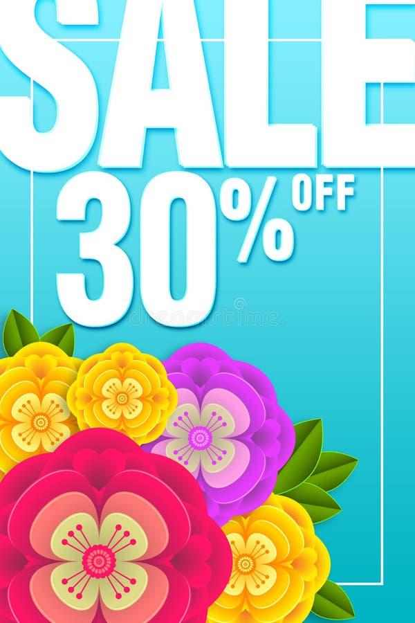Sonderangebot 30% der Verkaufs-Fahne weg vom Hintergrund mit sch?ner Blumenillustrationsschablone stockfotografie
