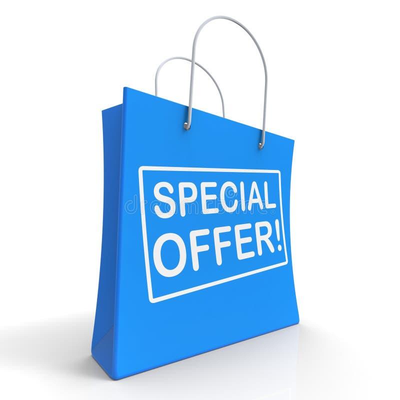 Sonderangebot-Einkaufstasche zeigt Förderung stock abbildung