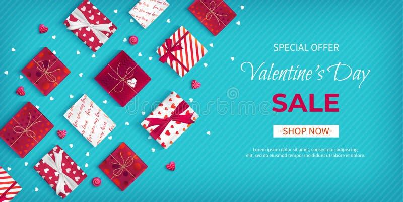 Sonderangebot Valentinstag-Verkauf Rabattflieger, großer Saisonverkauf Horizontale Netz-Fahne mit vielen Feriengeschenk Kästen stock abbildung