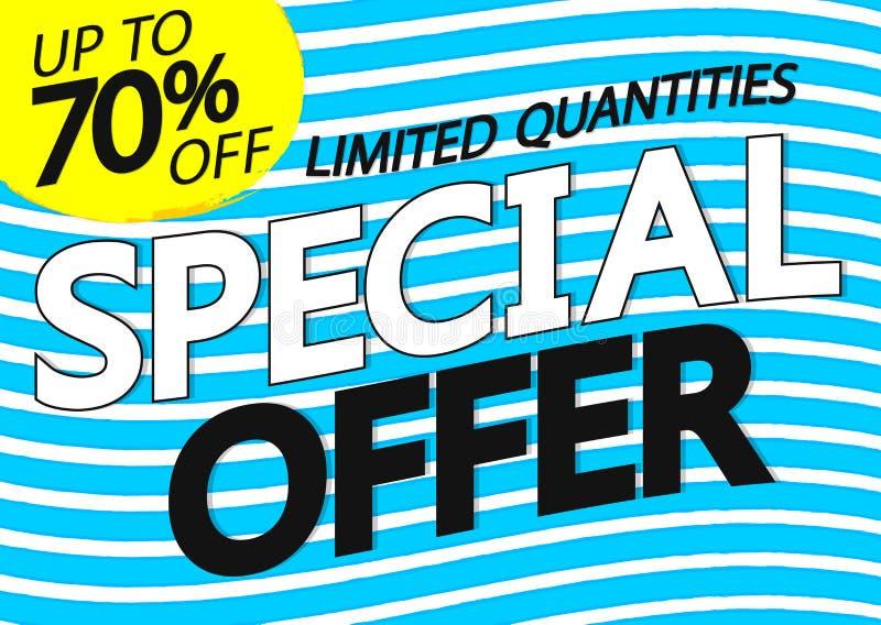 Sonderangebot, Verkauf bis 70% weg, Plakatentwurfsschablone, horizontale Fahne, Vektorillustration lizenzfreie abbildung