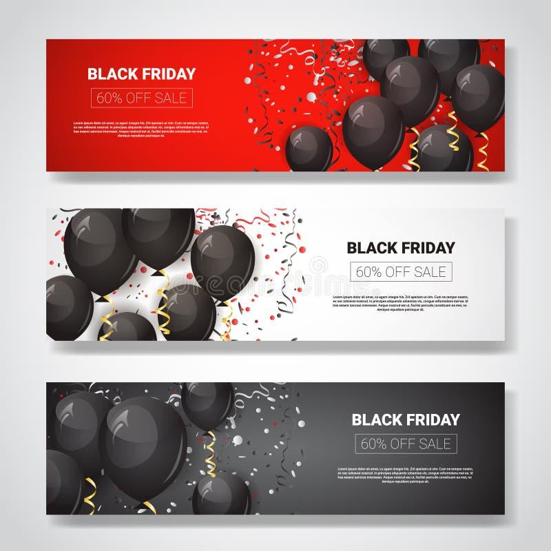 Sonderangebot-Verkaufs-Poster-Sammlung Black Fridays, glänzende Luft-Ballone auf horizontalen Fahnen mit Kopien-Raum-Feiertag vektor abbildung