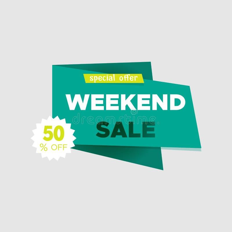 Sonderangebotfahne des Wochenendenverkaufs, bis 50% weg Auch im corel abgehobenen Betrag Gebrauch für die Werbung des Produktes o vektor abbildung