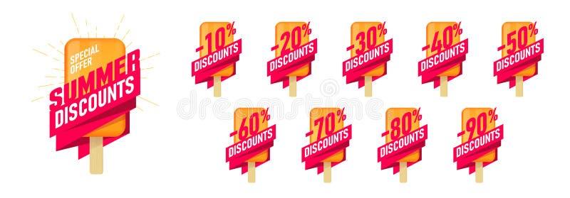 Sonderangebotsommerschlussverkauf Werbeaufkleber eingestellt mit Eiscremegestaltungselement und Typografie, Umbauten bis 10 - 90  vektor abbildung