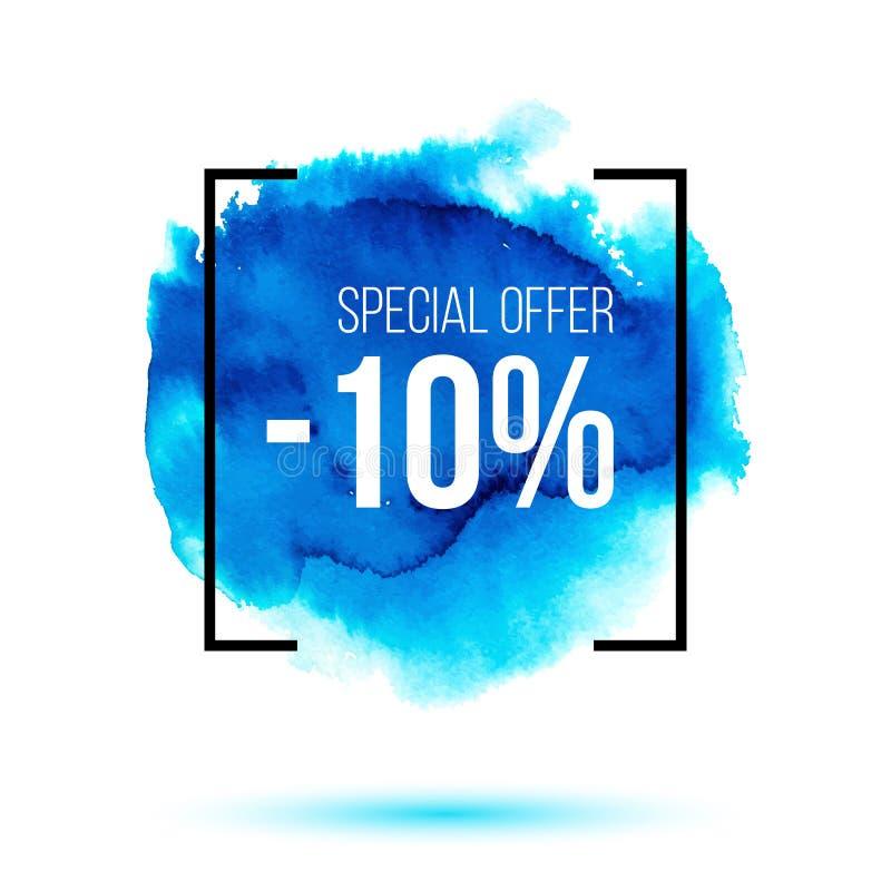 Sonderangebotverkauf auf blauem Watercolourhintergrund vektor abbildung
