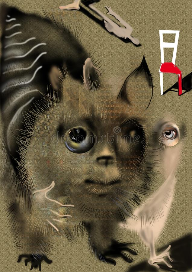 Sonderbares abstraktes Tier über einem beige Hintergrund stockbilder