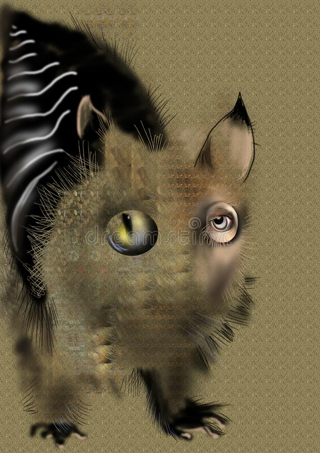 Sonderbares abstraktes Tier über einem beige Hintergrund lizenzfreie stockbilder