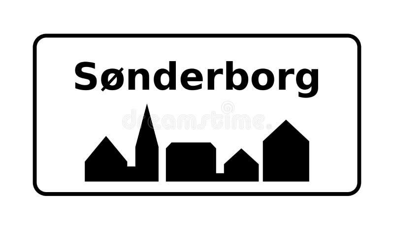 Sonderborg-verkeersbord in Denemarken stock illustratie