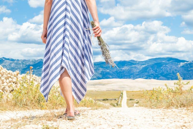 Sonderkommando der Frau im Sommerkleiderholdingblumenstrauß von Lavendelblumen beim Gehen im Freien durch trockenes felsiges stockbild
