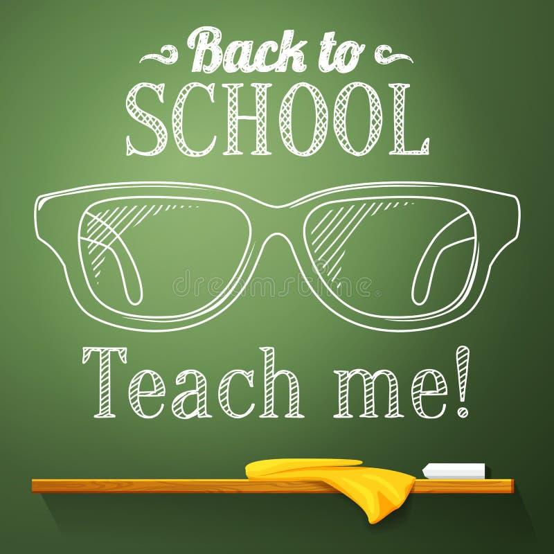 Sonderlingsgläser auf der Tafel mit zurück zu Schule lizenzfreie abbildung
