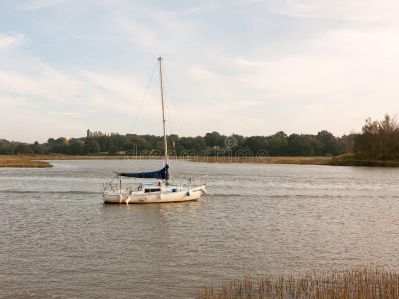 Sondern Sie das private Boot aus, das in der Flussflut-Landschaftsszene festgemacht wird lizenzfreies stockfoto