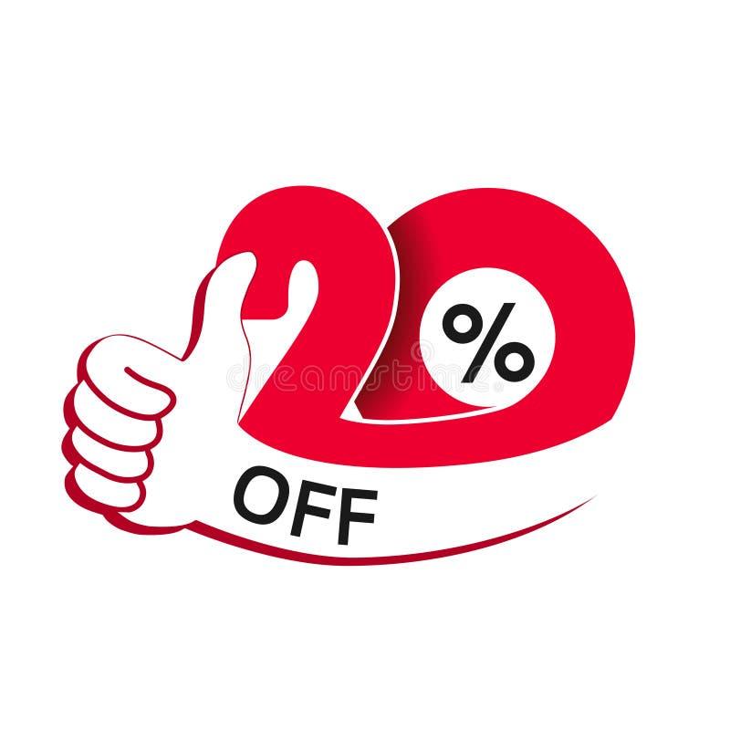 Sonderverkaufangebot des Vektors Rotes Tag mit bester Wahl Rabattangebot-Preisschild mit Handzeichen Aufkleber von 20% weg lizenzfreie abbildung