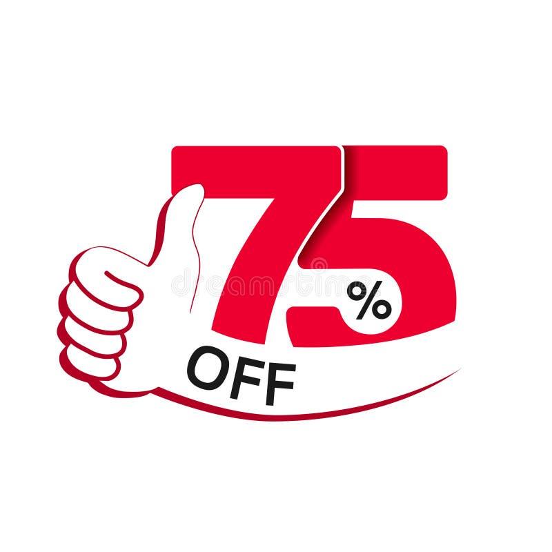 Sonderverkaufangebot des Vektors Rotes Tag mit bester Wahl Rabattangebot-Preisschild mit Handzeichen Aufkleber von 75% weg lizenzfreie abbildung