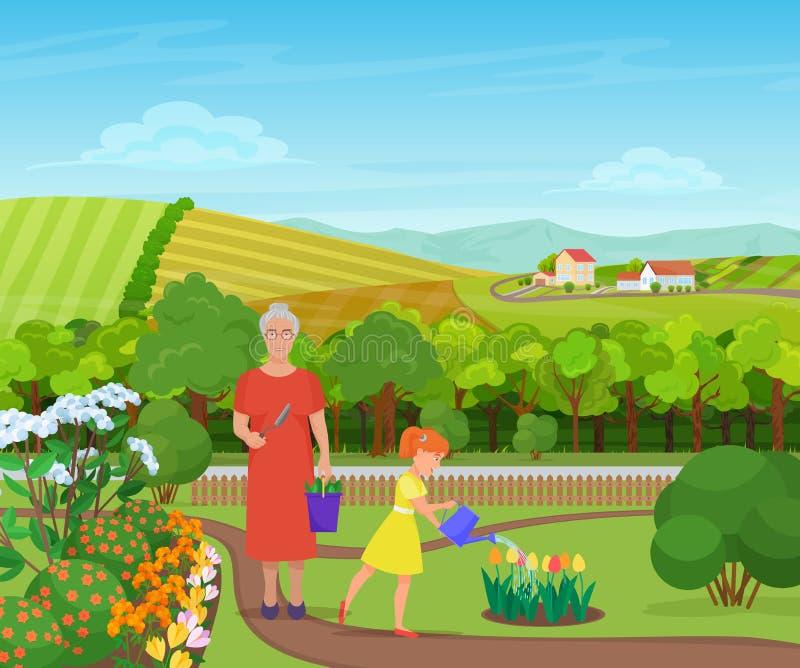 Sondotter som bevattnar och tar omsorg av blommor med farmodern i härlig by i berg royaltyfri illustrationer