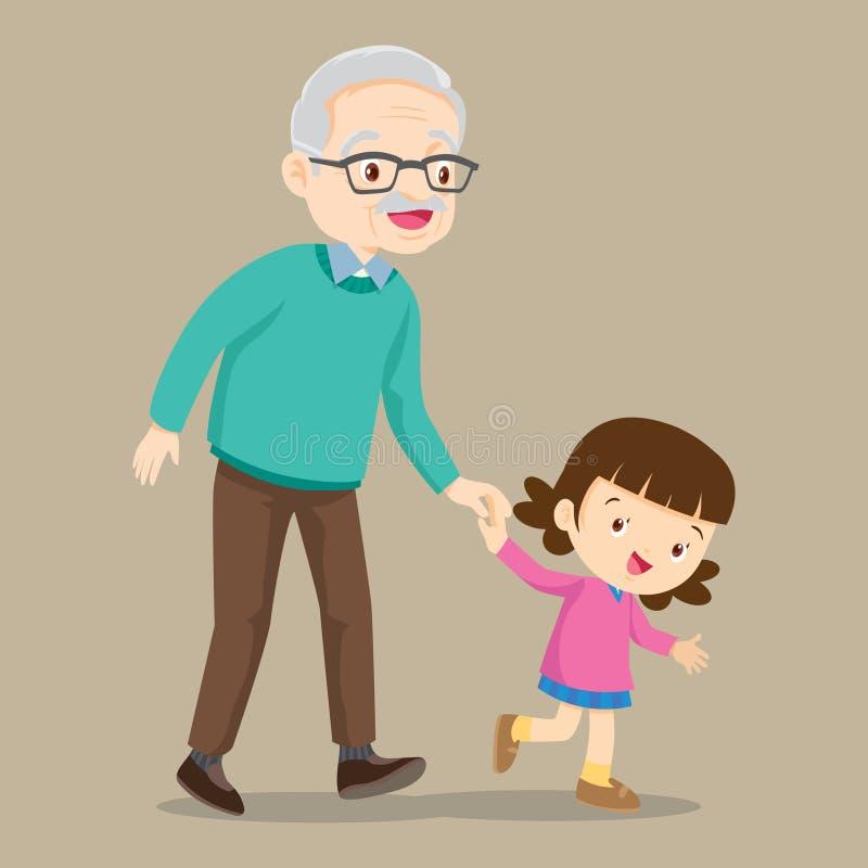 Sondotter som går med hennes farfar stock illustrationer