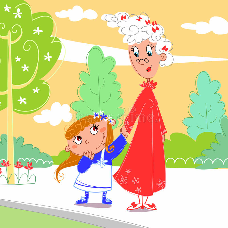 sondottergranny henne park royaltyfri illustrationer