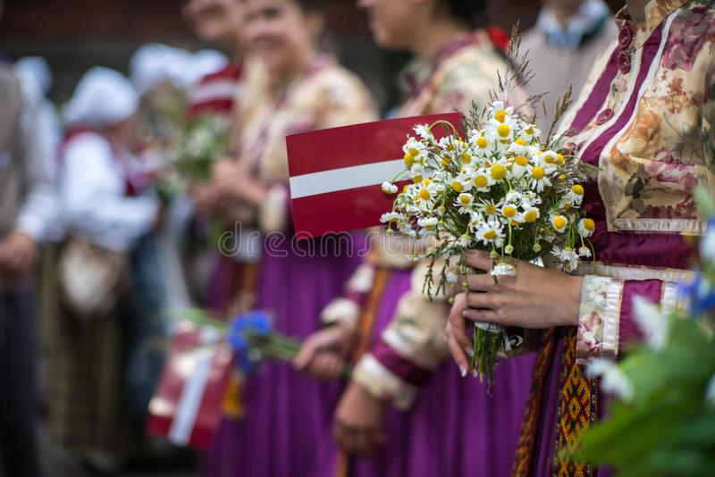 Song and dance festival in Latvia. Procession in Riga. Elements of ornaments and flowers. Latvia 100 years. royalty free stock photos