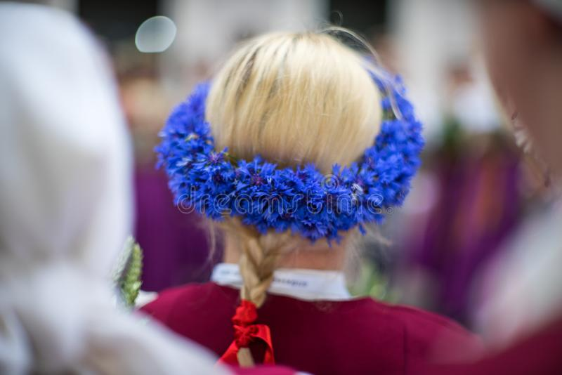 Song and dance festival in Latvia. Procession in Riga. Elements of ornaments and flowers. Latvia 100 years. royalty free stock photography