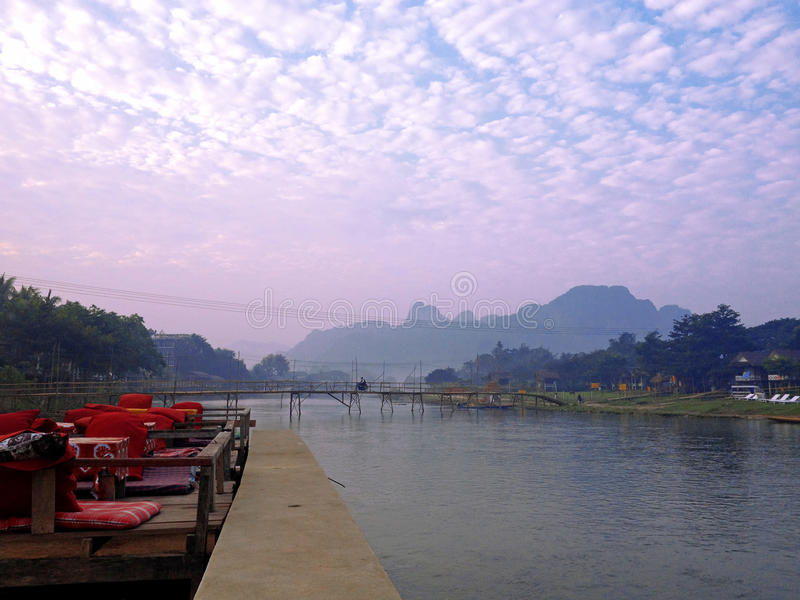 Song River in Vang Vieng royalty free stock photography