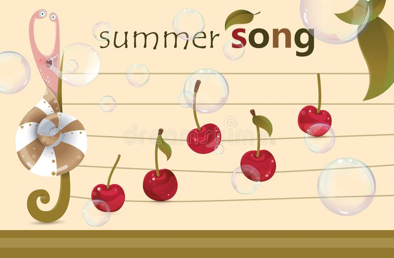 Song of summer - musical fruity background royalty free illustration