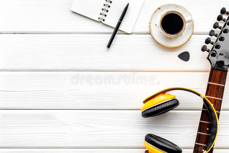 Song writer set with musician and DJ instruments white wooden background top view space for text royalty free stock image