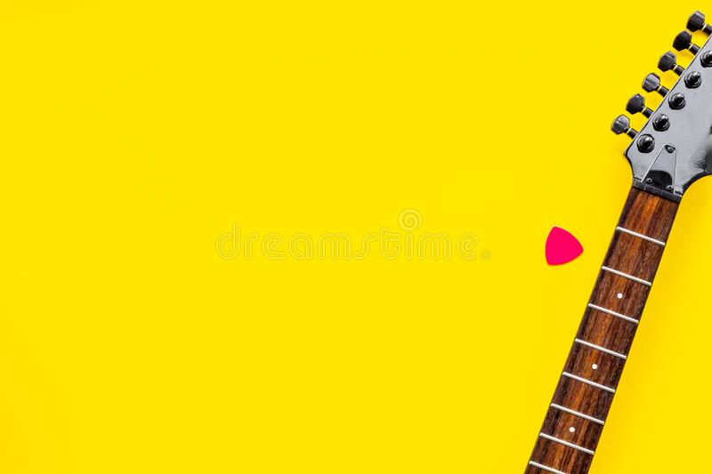 Song writer set with musician and DJ instruments yellow background top view space for text royalty free stock image