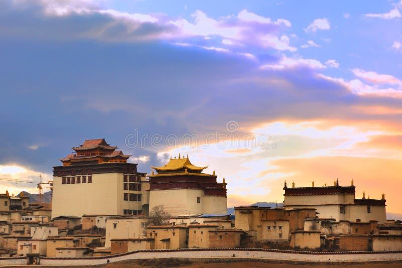 Song zan lin temple in Shangri-la. Of Yunnan in the sunrise timern stock photos