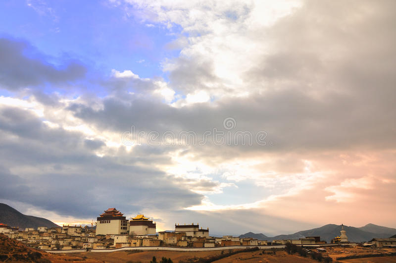 Song zan lin temple in Shangri-la. Of Yunnan in the sunrise time royalty free stock images