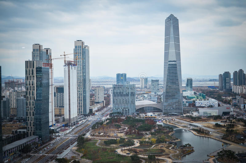 Songdo Internationaal Bedrijfsdistrict stock foto