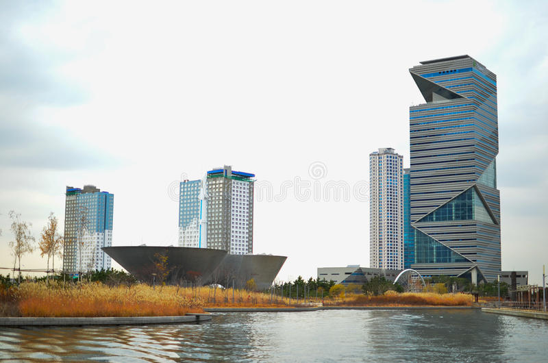Songdo Internationaal Bedrijfsdistrict royalty-vrije stock foto's