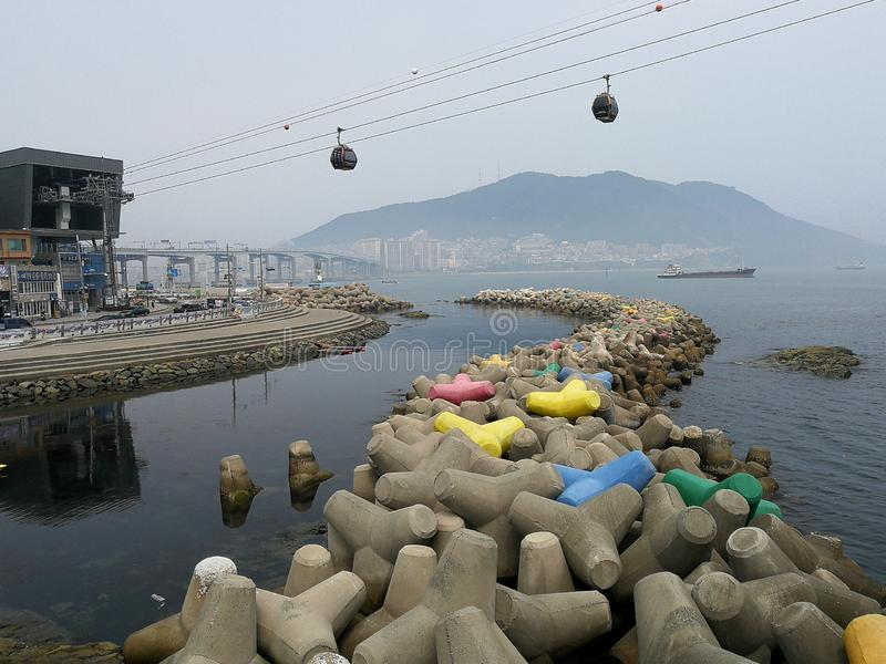 Songdo Marine Cable Car. Originally launched in 1964 as Korea`s first cable car, the Songdo Beach attraction reopened in 2017, measuring a distance of 1.62km stock image
