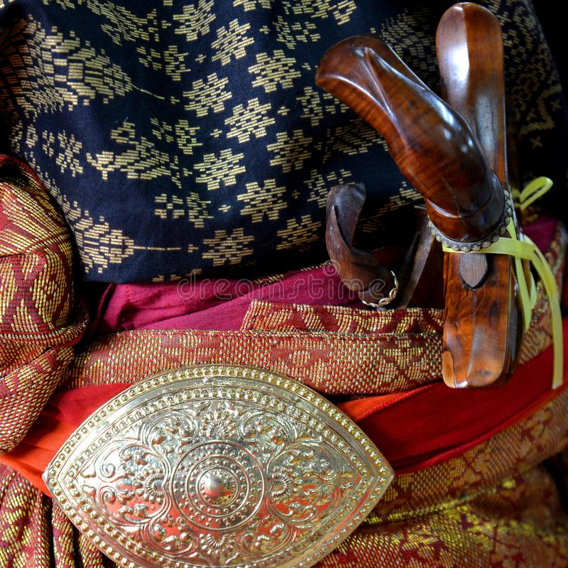 Songket textiles. Songket is a fabric that belongs to the brocade family of textiles of the Malay world today Indonesia, Malaysia, Brunei, Singapore and Southern stock photo