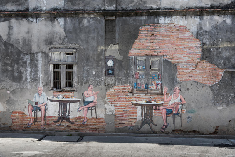 Famous street art on the wall in Songkhla, Thailand stock image