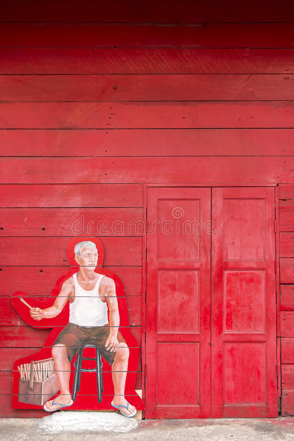 SONGKLA, Tailândia - 24 de outubro: Arte na parede na enxada Hin do cubo, vermelho foto de stock royalty free