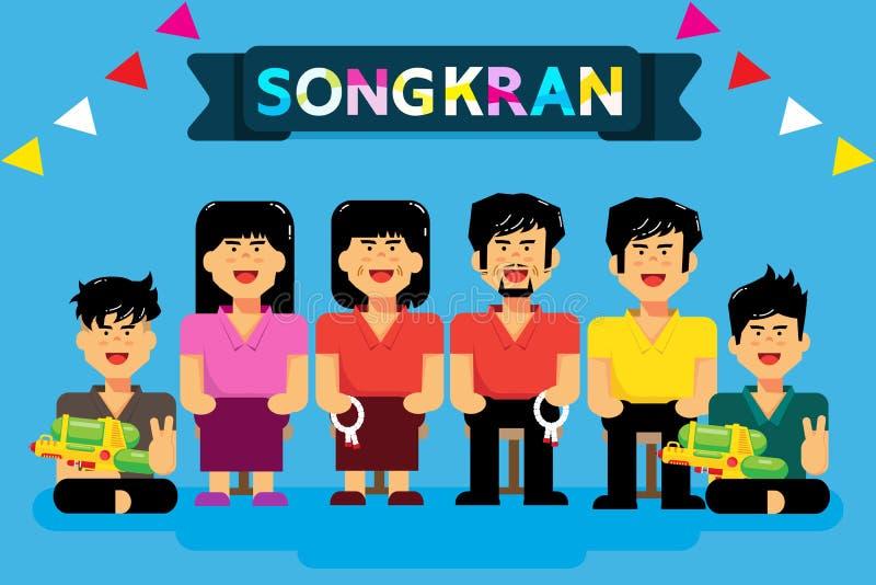 Songkran är det thailändska nya året som det är en lång ferie för att det thailändska folket hem ska gå tillbaka vektor illustrationer