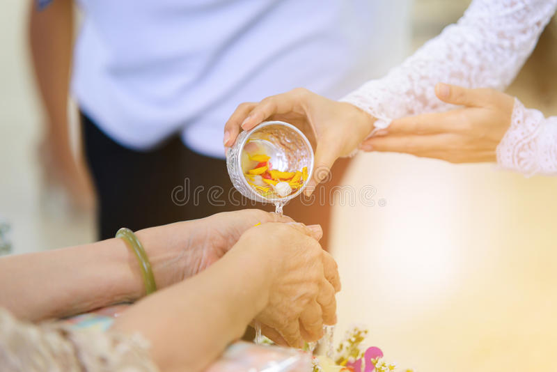 Songkran ceremony, Thai New Year royalty free stock images