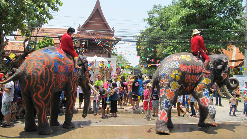 Songkran Festival is celebrated with elephants in Ayutthaya. The Songkran festival (Thai stock photo