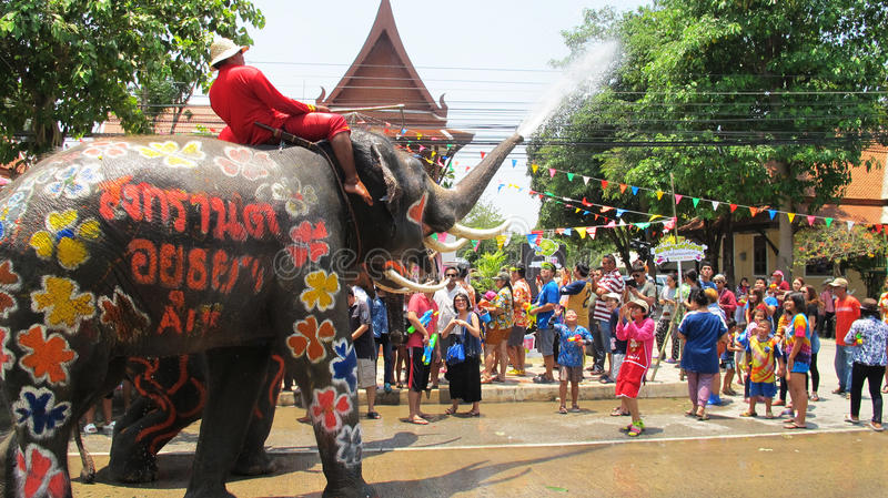 Songkran Festival is celebrated with elephants in Ayutthaya. The Songkran festival (Thai: สงกรานต์) is celebrated in royalty free stock photos