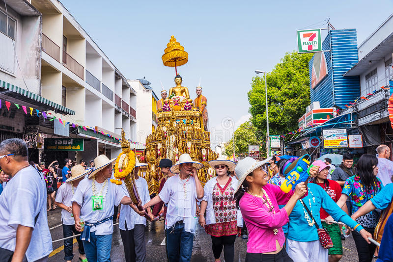 Songkran festival. CHIANG MAI, THAILAND-APRIL 13:Chiang mai Songkran festival.The tradition of bathing the Buddha Phra Singh marched on an annual basis. With stock photo