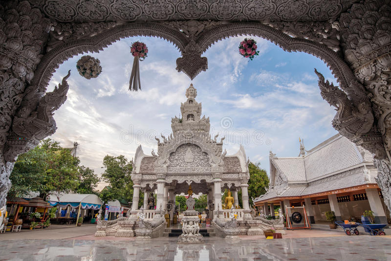 Songkran festival at City pillar, Wat ming myang on April, 2014 in Nan, Thailand. royalty free stock image