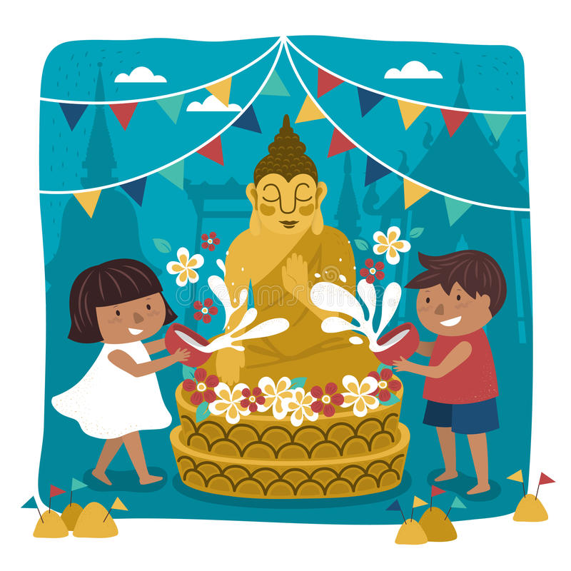 Songkran festival illustration. With kids pouring water on buddha statue, temple background royalty free illustration