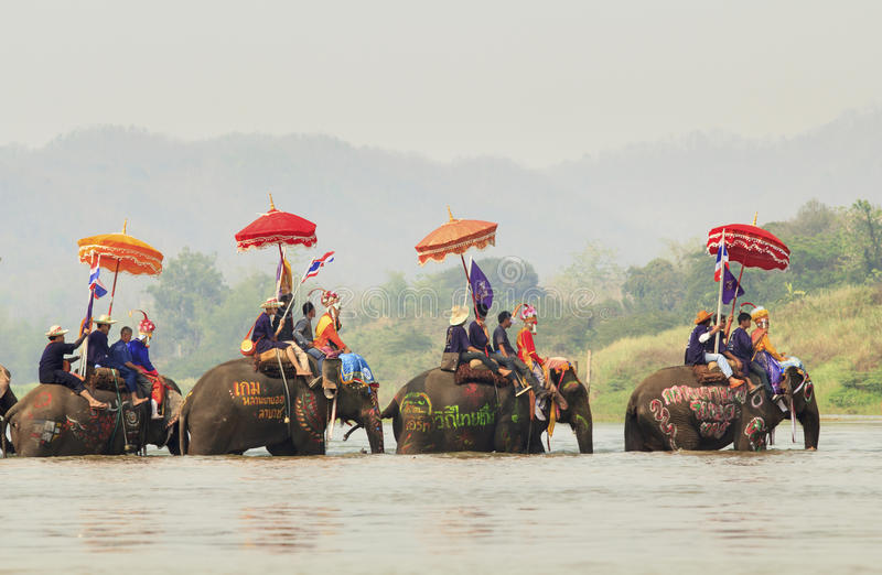 Songkran festival, Sukuthai Thailand royaltyfria bilder