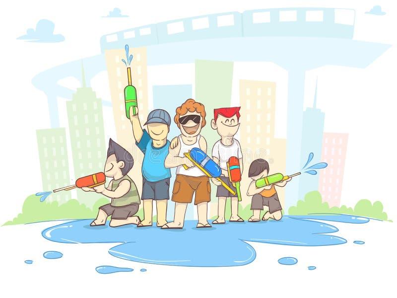 Songkran, menino dos desenhos animados e turismo com festival da ?gua de Tail?ndia, espa?o da c?pia ilustração stock