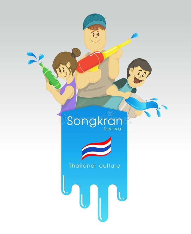 Songkran, muchacha del muchacho del vector de la historieta y turismo con el festival del agua de Tailandia, espacio de la copia libre illustration