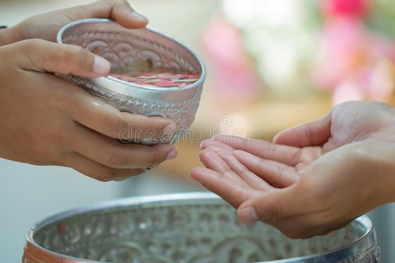 Songkran Thai festival concept : Thai people celebrate Songkran in new year water festival by giving garlands to elder seniors and royalty free stock images