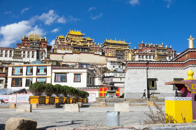 Songzanlin. Song Zan Lin Temple and blue sky, the largest Tibettan Buddhist Monastery in Shangrila, Yunnan, China stock images