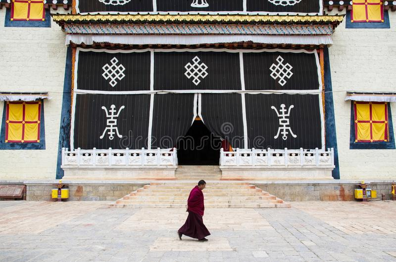 Songzanlin Temple is the largest Tibetan Buddhism monastery in Yunnan Province.It is called the Little Potala Palace or Ganden Sum. Yunnan,China - April 16,2017 stock images