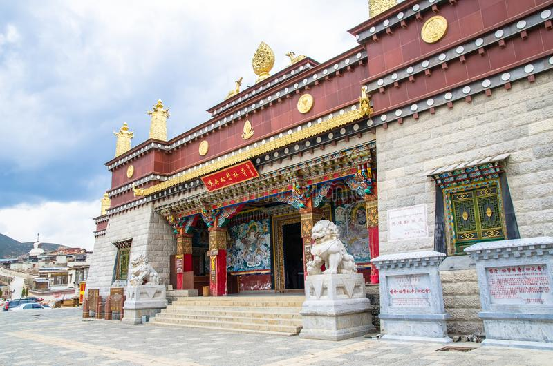 Songzanlin Temple is the largest Tibetan Buddhism monastery in Yunnan Province.It is called the Little Potala Palace or Ganden Sum. Yunnan,China - April 16,2017 stock image